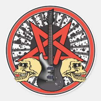 Gitarren-Rockstar Runder Sticker
