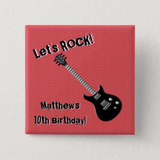 Gitarren-Rockstar Quadratischer Button 5,1 Cm