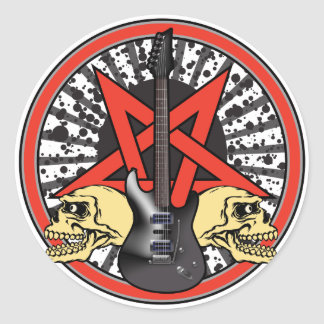Gitarren-Rockstar Runder Aufkleber