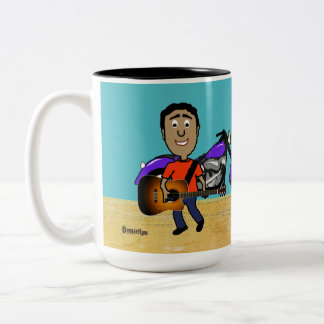 Gitarren-Spieler-Comic Zweifarbige Tasse