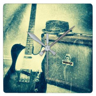 Gitarrenampere-Harmonika Bluesmanuhr Quadratische Wanduhr
