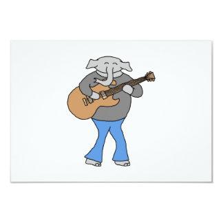 Gitarrist. Elefant, der elektrische Gitarre spielt 8,9 X 12,7 Cm Einladungskarte