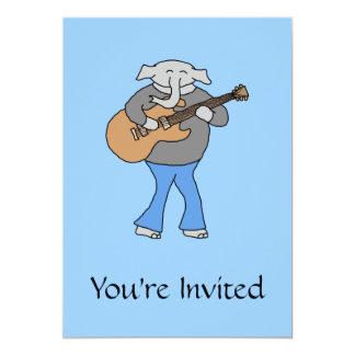 Gitarrist. Elefant, der elektrische Gitarre spielt 12,7 X 17,8 Cm Einladungskarte