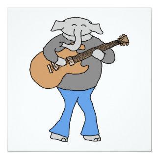 Gitarrist. Elefant, der elektrische Gitarre spielt Quadratische 13,3 Cm Einladungskarte