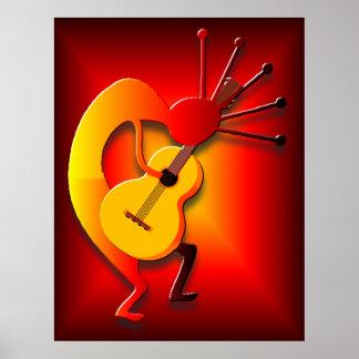 Gitarrist im Rot Poster