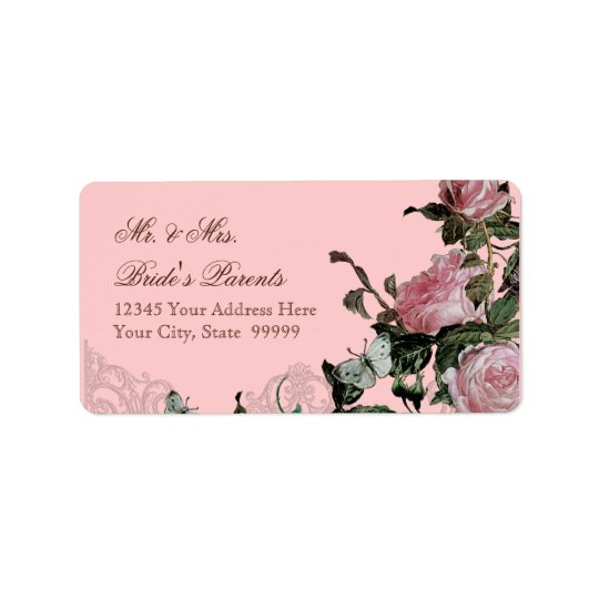Gitter-Rosen-Vintager rosa Rosen-Schmetterlings-Wi Adressaufkleber