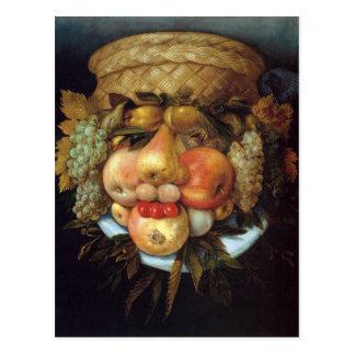 Giuseppe Arcimboldos umschaltbarer Kopf mit Korb Postkarte