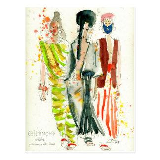 Givenchy Modeschau Paris - Modeillustration Postkarte