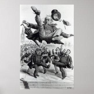 Gladstone, das aus dem Parlament, c.1894 heraus ge Poster