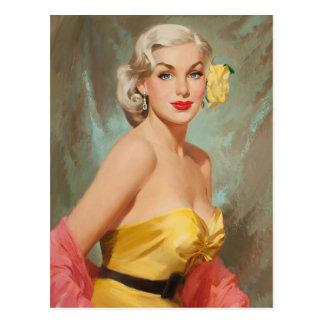 Glamour Blonde PinUp Girl Postkarte