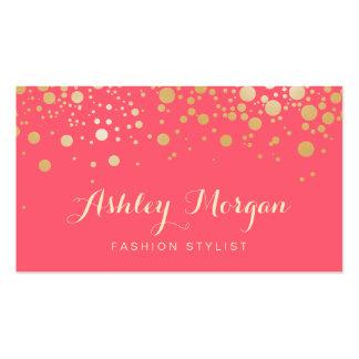 Glamour-Gold punktiert Dekor - reizend rosa Visitenkarten