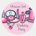 Glamour-Mädchen-Geburtstag Runder Sticker