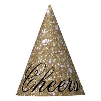 Glamourgoldener Glitz Bokeh beleuchtet GoldGlitter Partyhütchen