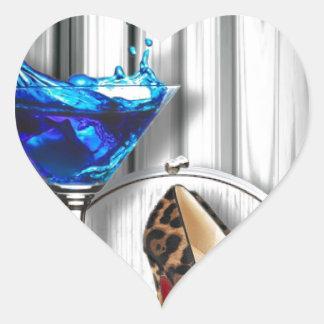 Glamourmartini-Cocktail-Party-Mädchen stilletos Herz-Aufkleber