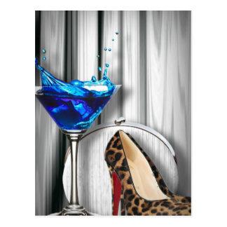 Glamourmartini-Cocktail-Party-Mädchen stilletos Postkarte