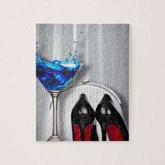 Glamourmartini-Cocktail-Party-Mädchen stilletos Puzzle