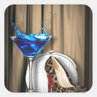 Glamourmartini-Cocktail-Party-Mädchen stilletos Quadratischer Aufkleber