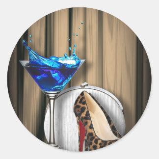 Glamourmartini-Cocktail-Party-Mädchen stilletos Runder Aufkleber