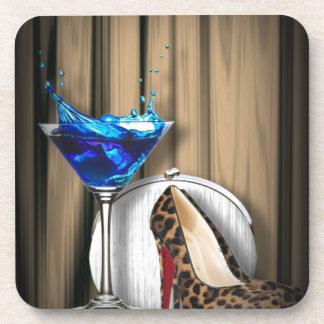 Glamourmartini-Cocktail-Party-Mädchen stilletos Untersetzer