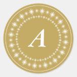 Glanz spielt Goldmonogramm-eleganten Runder Aufkleber