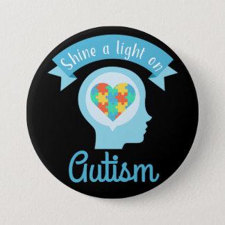 Glänzen Sie ein Licht auf Autismus, Bewusstsein Runder Button 7,6 Cm
