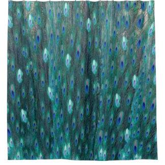 Glänzende aquamarine Pfau-Augen Duschvorhang