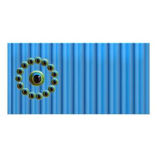 Glänzende blaue Drachen Vorhang-Rod n mustern Photo Grußkarte