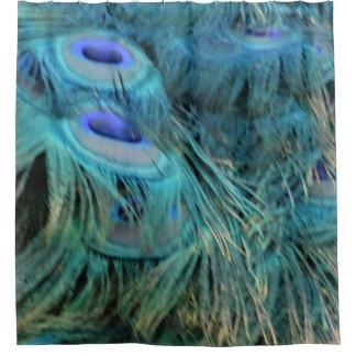 Glänzende blaue Pfau-Federn Duschvorhang