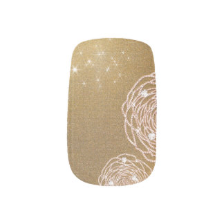 Glänzende Diamant-GoldRosen-Nagel-Kunst Minx Nagelkunst