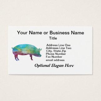 Glänzende Farbe-gewaschene Schweine Visitenkarte
