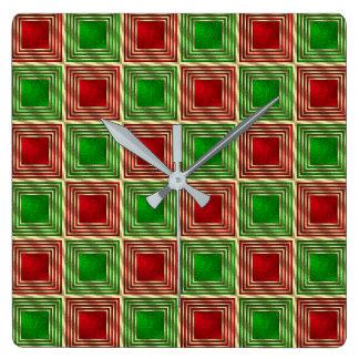 Glänzende festliche Quadrate Quadratische Wanduhr