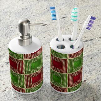 Glänzende festliche Quadrate Seifenspender & Zahnbürstenhalter