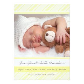 Glänzende gelbe Baby-Geburts-Mitteilungen 14 X 19,5 Cm Einladungskarte