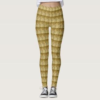 Glänzende goldene Muster Gamaschen Leggings