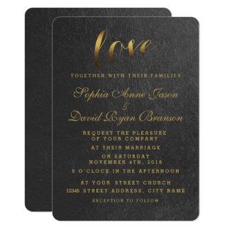 Glänzende Goldfolien-Liebe-Schwarz-Hochzeit laden 11,4 X 15,9 Cm Einladungskarte
