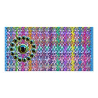 Glänzende grafische Drachen Schein-Rod n mustern Foto Karte