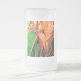Glänzende Heliconia tropische Blumen Matte Glastasse