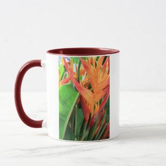Glänzende Heliconia tropische Blumen Tasse