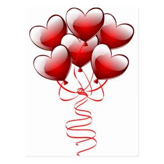 Glänzende helle Liebe-Herz-Ballone Postkarte