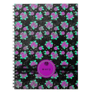 Glänzende, helle lila Rosen Notizblock