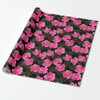 Glänzende helle rosa Blumen mit grünem Blätter Geschenkpapier