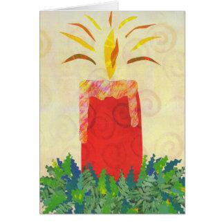 Glänzende Kartenschablone des Kerzenlichtes Grußkarte