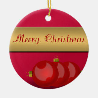 Glänzende rote Weihnachtsverzierung Rundes Keramik Ornament