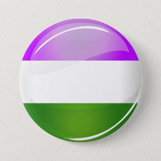Glänzende runde Genderqueer Flagge Runder Button 7,6 Cm