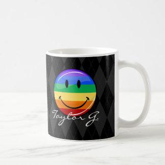 Glänzende runde glückliche Gay Pride-Flagge Kaffeetasse