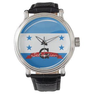 Glänzende runde honduranische Flagge Armbanduhr