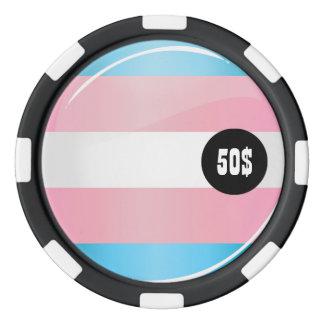 Glänzende runde Transgender-Stolz-Flagge Poker Chips Set