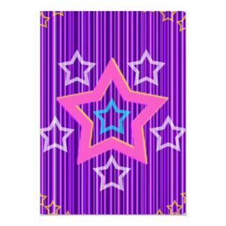 Glänzende Silber-Sterne auf hollistic blauem 12,7 X 17,8 Cm Einladungskarte
