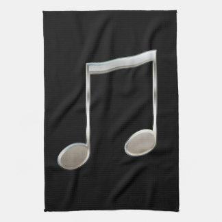 Glänzende silberne Musik-Anmerkungs-gestrahlte Geschirrtuch