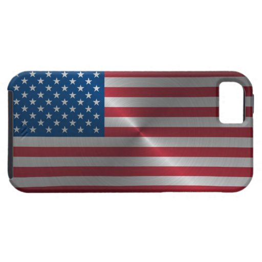 Glänzende Stahl USA-Flagge iPhone 5 Case